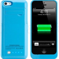 Kujian Slim Battery Case Charger iPhone 5 5S 5C (iOS 8 or above Compatible) 2200 mah Portable External Charger with 4 LED Lights Built-in Kickstand Holder (Blue)