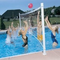 Dunnrite DeckVolley Swimming Pool Volleyball Set with Brass Anchors (FOR SALT SYSTEM POOLS)