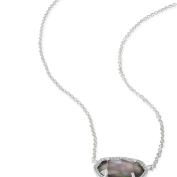 Kendra Scott Elisa Black Mother of Pearl Silver Necklace
