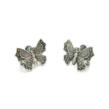 Sterling Silver Butterfly Earrings Small Chinese Asian Style Embossed Stamped Bug Insect Screw Back Vintage 1950s Mid Century Nature Jewelry