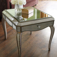 """Claudia"" Mirrored End Table"