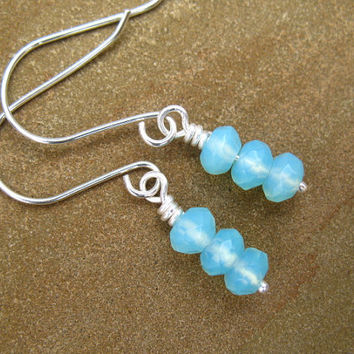 Light Blue Earrings Sterling Silver Sea Opal by ZorroPlateado