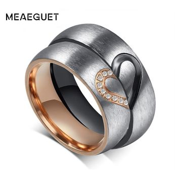 Meaeguet 1 Pair Love Heart Wedding Promise Rings Set Stainless Steel Couples Engagement Wedding Bands for Men Woman