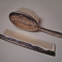 Reed and Barton Italy Baby Comb Brush Set Silver Vintage