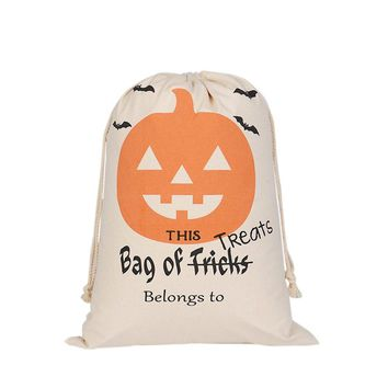 Halloween Pumpkin Canvas Pouch Beam Port Candy Gift Trick Or Treat Sack Canvas Bag Storage Bag Drawstring Bag (S02)