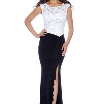 Decode 1.8 - Lacy Two-Toned Draped Slit Gown 182909