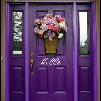Hello Front Door Decal Vinyl Lettering Wall Words Wall Art Hello Front Door Decal