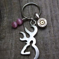 Browning keychain, browning key ring, Deer head necklace, hunters look! redneck jewelry, country girl, bullet jewelry