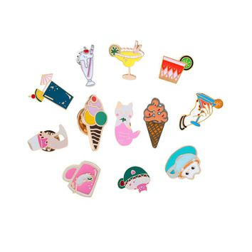 Summer Ice Cream Juice Brooch for Women Cartoon Enamel Pin Beach Hat Denim Jackets Lapel Badges Pins Jewelry Shirts Decorations