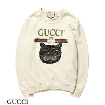 kuyou G005 Gucci Round neck cat head fur collar sweater Apricot