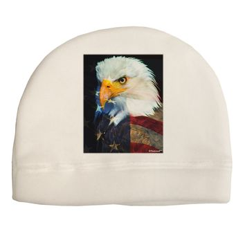 Patriotic Bald Eagle - American Flag Adult Fleece Beanie Cap Hat by TooLoud