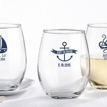 Personalized 9 oz. Stemless Wine Glass - Kate's Nautical Baby Shower Collection