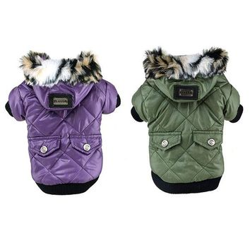 Cute Solid Warm Coats Dog Clothing For Pet Faux Pockets Fur Trimmed Dog Puppy Hoodie Pets Jacket Costume New
