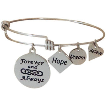 Stainless Steel Expandable Charm Bangle Bracelet Forever and Always Double Infinity