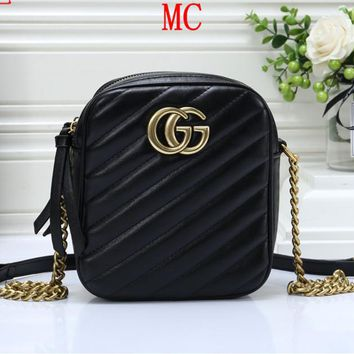 """Gucci"" Women Simple Logo Letter Metal Chain Single Shoulder Messenger Bag Small Square Bag"