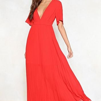 One Moment Pleat Maxi Dress