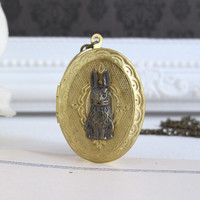 Vintage Locket Necklace. Bunny Rabbit On Oval Brass Locket Necklace. Photo Locket Antiqued Brass Chain Necklace