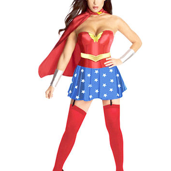 MOONIGHT Super Girl Ladies Wonder Woman Costume Fancy Dress Women Halloween customes blue women supergirl costumes