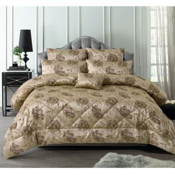 6 Piece 300TC Regal Rose Latte Jacquard Comforter Set by Accessorize