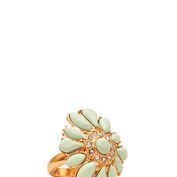 FOREVER 21 Fresh Faux Stone Cocktail Ring Mint/Gold