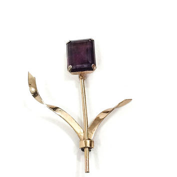 Sterling Vermeil Retro Brooch, Long Thin Amethyst Flower Pin, Signed Coro, 1940s, Minimalist Retro Modern Vintage Jewelry