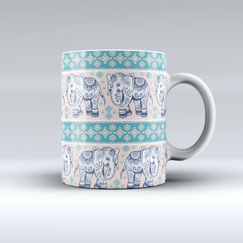 The Walking Sacred Elephant Pattern V2 ink-Fuzed Ceramic Coffee Mug