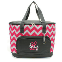 Personalized Grey Pink and White Chevron Print Large Cooler Bag With