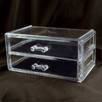 "Ikee Design 2 Drawer Acrylic Jewelry and Cosmetic Storage Display Box 7 1/4""w X 4""d X 3 1/2""h . Inner compartment size : 6 3/8""W x 3 1/2""Dx 1 1/4""H"