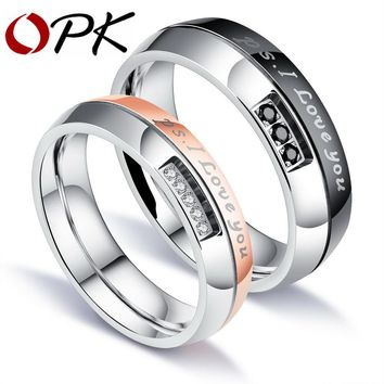 OPK Romantic I LOVE YOU Wedding Rings For Lovers Pave Cubic Zirconia Rose Gold Color Steel Couples Engagement Bands GJ544