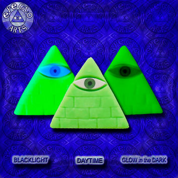Halloween Special Minimalist Neon Green Glow in the Dark Illuminati Pyramid Pendant EyeGloArts Handmade Blacklight jewelry UV wearable Art