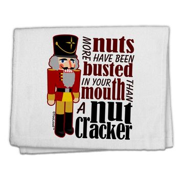 """More Nuts Busted - Your Mouth 11""""x18"""" Dish Fingertip Towel by TooLoud"""