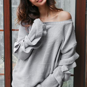 Elegant Loose Neck Ruffle Sleeves Knitted Sweater