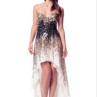 KC131574 Sequin High Low Prom Dress by Kari Chang Couture