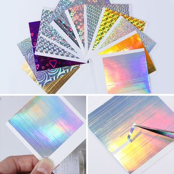 12 Sheets Holo 3D Nail Sticker Set Line Stripe Adhesive Ultra Thin Foil Candy Decal for Nail Art Decoration