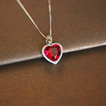 Heart Ruby Vintage Pendants S925 Sterling Silver Necklace Fine Jewelry Bridal Wedding Engagement Bijouterie No Chain