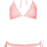 Scallop Triangle Bikini Set - Coral