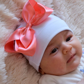 Newborn Hat, Baby Bow, White Hat,Hopital Hat, Baby Cap,Satin Bow, Infant Beanie Hat, 4 Inch Bow