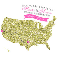 Gold Glitter Map, Birthday Gift for Best Friend, Sister - 8x10 Custom Map, Long Distance, Sparkling, Ribbon, Girly, Pink, Gold, Black, Glam