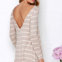 Swing Along Ivory and Taupe Striped Long Sleeve Dress