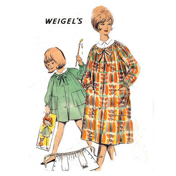 1960s Artist's Smock Vintage sewing pattern Weigel's 2366 Teen Size 14 Bust 33