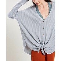 EVA - long sleeve thermal waffle knit v neck button down lightweight sweater - grey