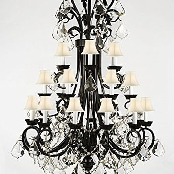 "Foyer / Entryway Wrought Iron Chandelier 50"" Inches Tall With Crystal And With White Shades! H50"" x W30"" - A84-B12/WHITESHADES/724/24"