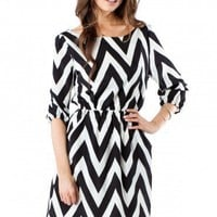 Forever Zig Zag Cinch Dress in Classic - ShopSosie.com