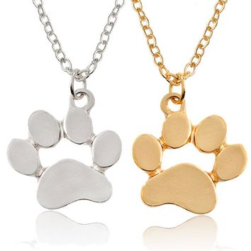 Animal Foot Necklace Lovely Cats Dogs Footprint Necklace Love Forever Friends BFF Memorial Gifts For Women Inspirational Jewelry