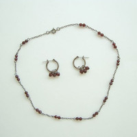 Garnet Necklace Earring Set Gunmetal Gray Metal Gemstone Jewelry