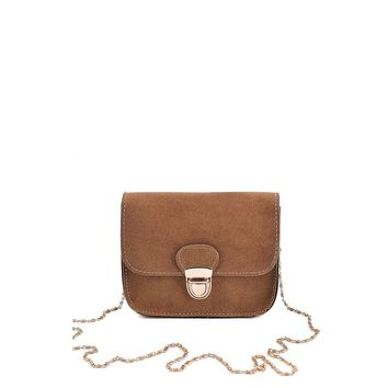 Brown Pushlock Flap Chain Bag