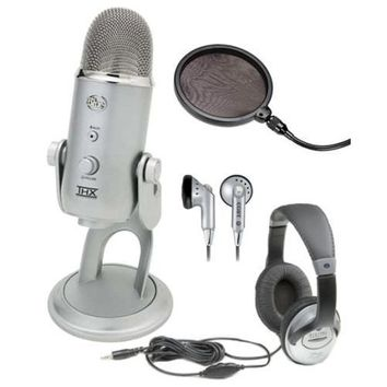 Blue Microphones Yeti USB Multi-Pattern Microphone with Full Size Studio Headphones and Knox Pop Filter for Yeti Microphone