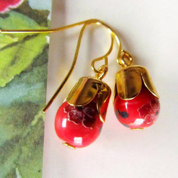 Floral Red Porcelain  earrings- dangle earrings- So sweet and adorable- Great Gifts
