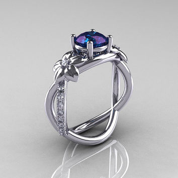 Nature Classic 950 Platinum 2.0 CT Alexandrite Diamond  Leaf and Vine Engagement Ring R180-PLATD2AL