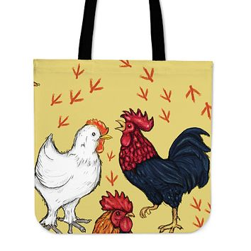 Art Chicken Linen Tote